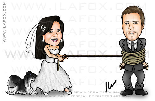 Caricatura noiva puxando noivo pela corda, caricatura cachorrinho, caricatura casale  cachorrinho, by ila fox