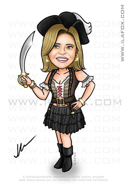 Caricatura mulher, fantasia de pirata, caricatura divertida, festa a fantasia, by ila fox