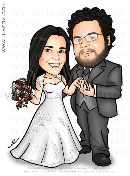 caricatura noivinhos, corpo inteiro, noivo de óculos, caricatura para casamento by ila fox