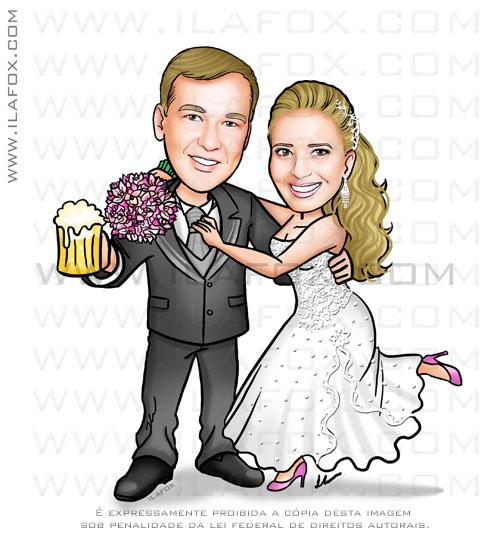 caricatura casal, caricatura noivinhos, caricatura noivo copo chopp, caricatura para casamento by ila fox