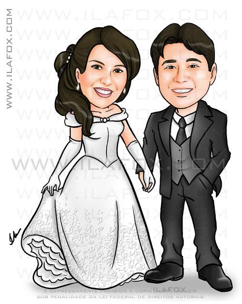 Caricatura casal, noivos, colorido, corpo inteiro, ela segurando o vestido tipo o da Bela, noivinhos Erika e Maurício, caricatura para casamento, by ila fox