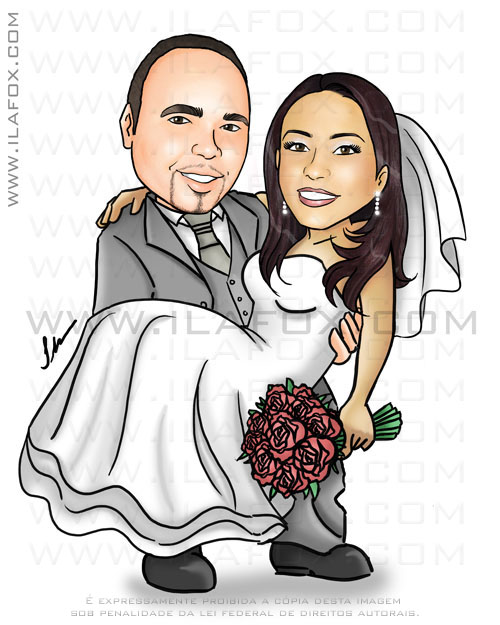 Caricatura, casal, noivos, corpo inteiro, Rio de Janeiro, colorido, noivo segurando no colo, by ila fox