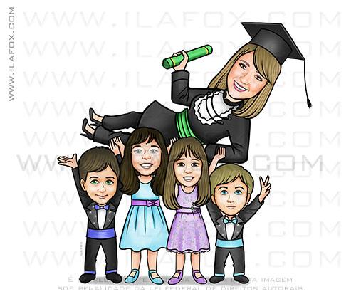 caricatura formanda, caricatura formatura, caricatura com filhos, caricatura medicina, by ila fox