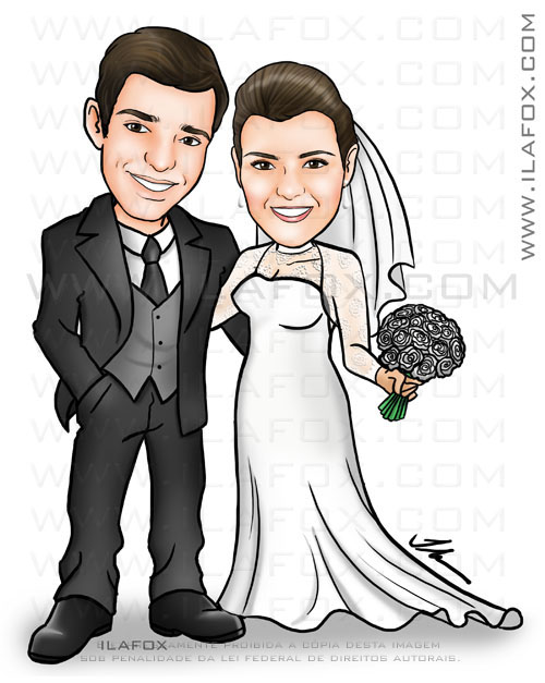 caricatura corpo inteiro, caricatura noivos, caricatura para casamento by ila fox
