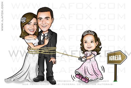 caricatura casal, caricatura noivos com filhos, caricatura para casamento by ila fox