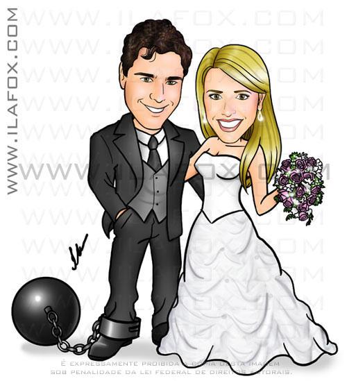 caricatura, colorida, corpo inteiro, casal, noivos, noivo preso com uma bola de ferro no pé, noivinhos Gabriela e Gustavo, caricatura para casamento, by Ila Fox