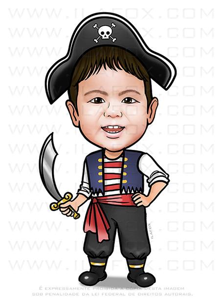caricatura criança, caricatura pirata, caricatura divertida, caricatura personalizada, caricatura para aniversario, ila fox