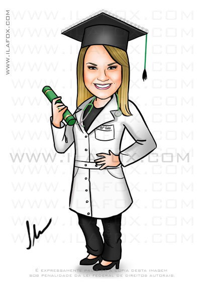 caricatura de formanda, caricatura para formandos, caricatura formatura, by ila fox