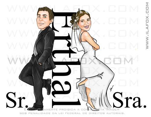 Caricatura, casal, noivos, corpo inteiro, Sr e Sra Smith, Erthal, noivinhos giselle e mauricio, caricatura para casamento, by ila fox