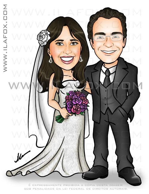 caricatura colorida, noivinhos, corpo inteiro, noiva flor no cabelo, buque rosa, noivo de oculos, noivihnos gissele e rafael, caricaturas para casamentos by ila fox