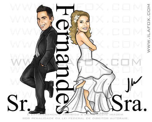 caricatura noivinhos, Fernandes, estilo sr e sra smith, caricatura para casamento, by ila fox