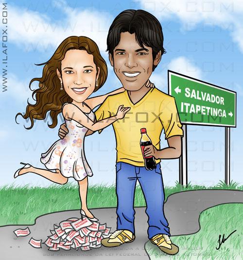 Caricatura colorida namorados, casal que mora a distancia, Salvador e Itapetinga by ila fox