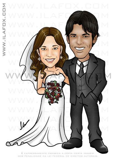 caricatura casal, corpo inteiro, noivos, noivinhos Isabela e Ciro, caricatura para casamento, by ila fox