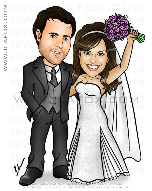Caricatura, casal, convite, noivos, corpo inteiro, colorido, noivinhos Jana e Lucas, caricatura para casamento, by ila fox