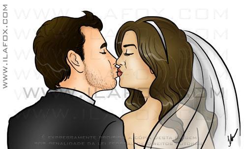 Caricatura, casal, convite, noivos, corpo inteiro, colorido, noiva segurando buquê, noivinhos Jana e Lucas, by ila fox