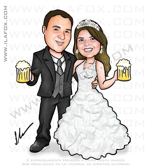 caricatura noivinhos, caricatura casal, caricatura para casamento, by ila fox
