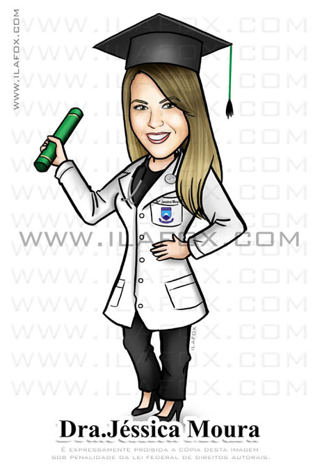 caricatura formanda, caricatura formatura, caricatura personalizada caricatura medicina, by ila fox