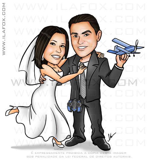 Caricatura casal, corpo inteiro, colorido, caricatura noivinhos, noivo segurando aviãozinho de controle remoto, aeromodelismo, by ila fox