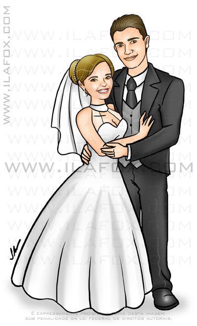 Caricatura noivos, casal, caricatura sem exagero, caricatura proporcional, cartoon, corpo inteiro, colorido, caricatura para casamento, by ila fox