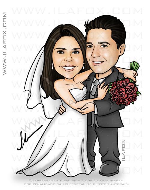 caricatura personalizada, caricatura para casamento, caricatura noivinhos, by ila fox