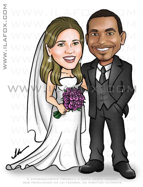 Caricatura noivos, casal, noivinha loira e branca, noivo negro, caricatura para casamento by ila fox