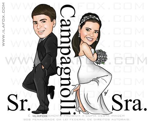 Caricatura casal, noivos, estilo sr e sra smith, Campagnolli, caricatura para casamento, by ila fox