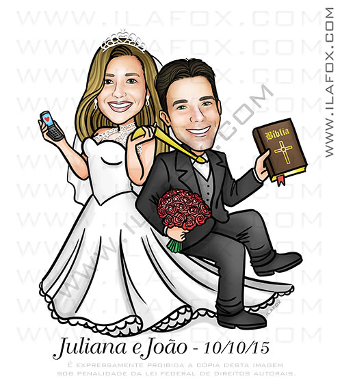 caricatura casal, caricatura personalizada, caricatura clássica, caricatura noivinho sendo arrastado, noivinho segurando bíblia, caricatura para casamento by ila fox