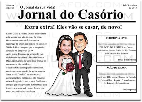 caricatura casal, caricatura noivinhos, caricatura bonita, caricatura para casamentos, convite estilo jornal, convite jornal, by ila fox