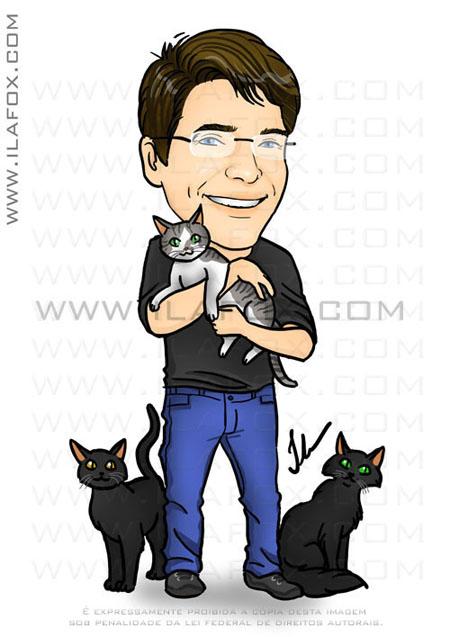 caricatura colorida homem corpo inteiro com gatos by ila fox