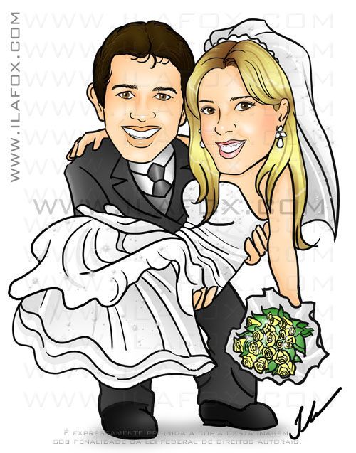 caricatura colorida, casal, noivos, noivo carregando noiva no colo, corpo inteiro, noivinhos Karimi e Rodrigo, caricatura para casamento, by ila fox