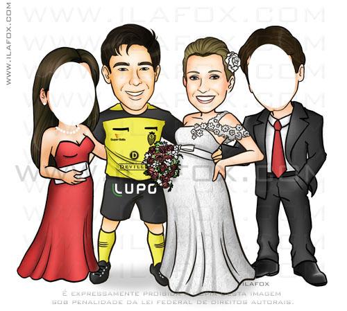 Caricatura casal, noivo bandeirinha, noiva grávida, caricatura com padrinhos, caricatura de por rostos, caricatura para casamentos by ila fox