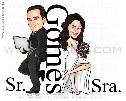 Caricatura noivos, estilo Sr e Sra Smith, noivo com notebook, casal, Gomes, caricatura para casamento, by ila fox