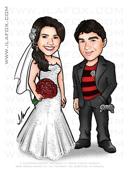 caricatura casal, caricatura noivos, caricaturas bonitas, para casamento, noivo flamenguista, by ila fox