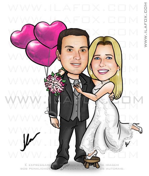 caricatura noivos, caricatura colorida, noiva com balões de coração, by ila fox