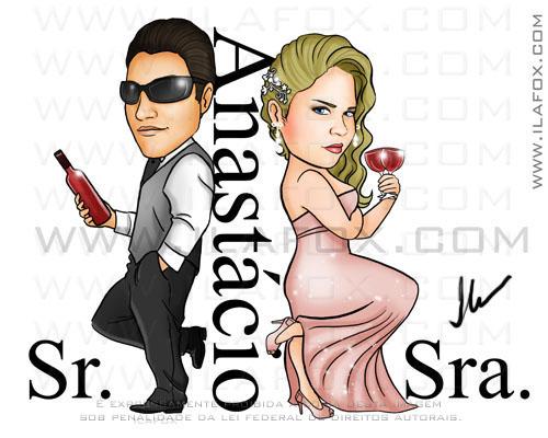 caricatura noivos, estilo sr e sra smith, segurando copo de champagne, Anastácio, casal de noivos, caricatura para casamento, by ila fox
