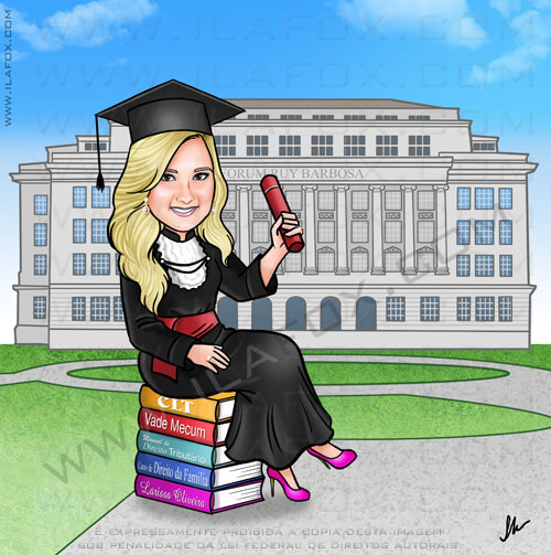 caricatura formanda, caricatura formatura direito, sentada em cima de livros, fórum Ruy Barbosa, caricatura by ila fox