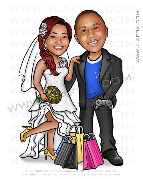 caricatura casal, caricatura casal negro, caricatura torcedor cruzeiro, caricatura para casamento by ila fox
