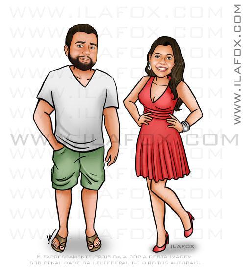 caricatura casal, proporcional, sem exageros, caricatura para casais by ila fox
