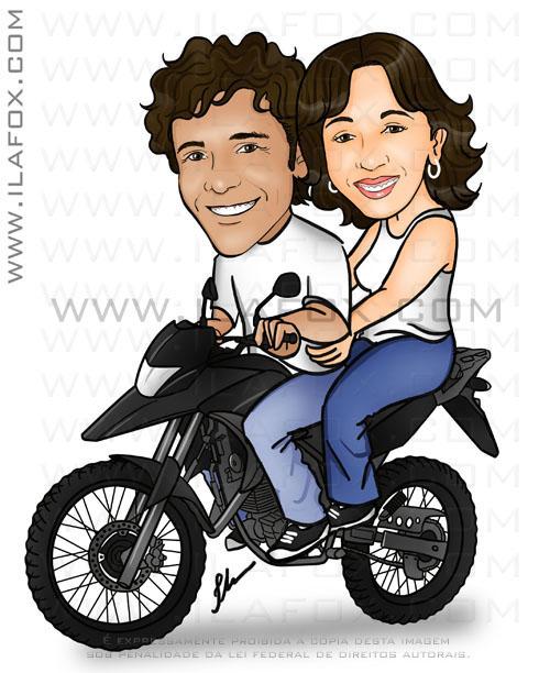 caricatura colorida casal na moto honda XRE 300 com cachorros labradores, liliam e gilson, by ila fox