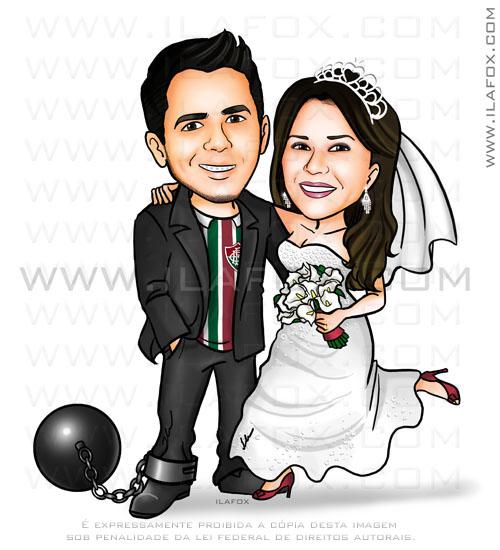 caricatura colorida, noivos, casal, noivinhos, noivo com camisa do Fluminense, noivo amarrado com bola de ferro, caricatura para casamento, by ila fox