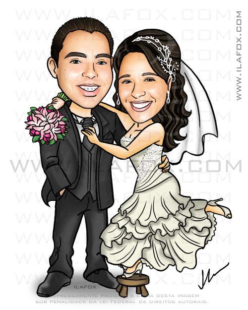 Caricatura casal, noiva vestido off white, noiva em cima do banquinho, by ila fox