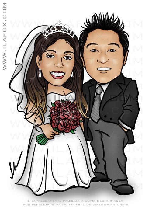 caricatura colorida, casal, noivos, corpo inteiro, noivinhos Loraine e Ronaldo, caricatura para casamento, by ila fox