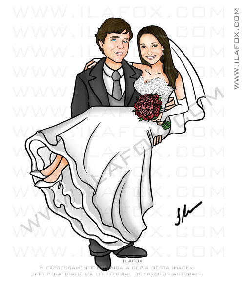 Caricatura noivo segurando novia no colo, caricatura para casamento, caricatura casal, by ila fox