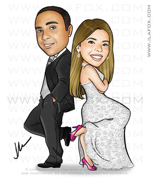 Caricatura casal, caricatura noivinhos, noivo moreno e noiva loira, by ila fox