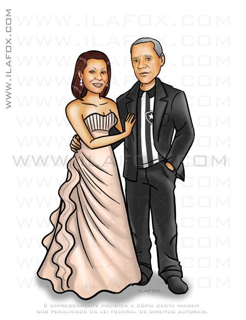 Caricatura casal mais velho, vestido de noiva cor salmão, noivo uniforme botafogo