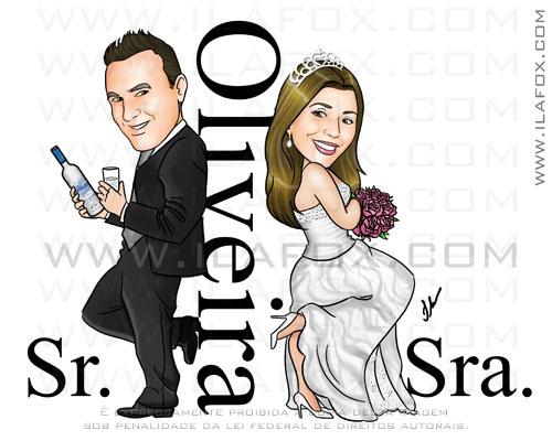 Caricatura casal, Oliveira, Sr e Sra Smith, Noivo segurando garrafa de Vodka, caricatura para casamentos by Ila Fox