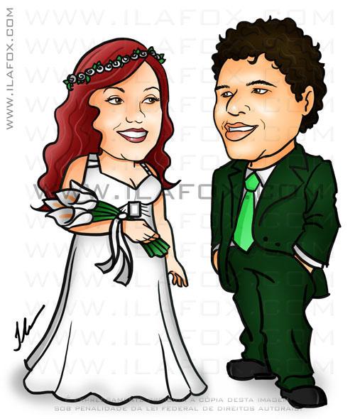 caricatura, colorida, corpo inteiro, noivinhos de frente um pro outro, noiva ruiva, noivos Luciana e Junior, caricatura para casamento, by ila fox