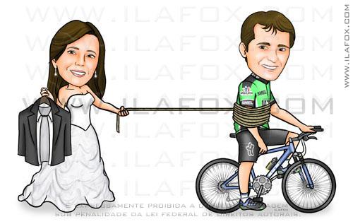 Caricatura noivos, noivinhos na bicicleta, noiva puxando noivo com uma corda, caricatura para casamentos by ila fox