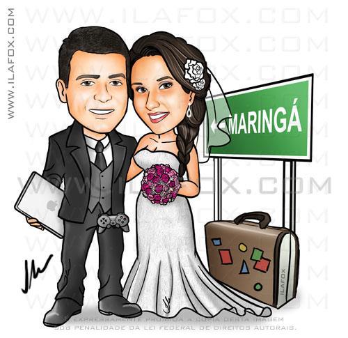 caricatura noivos, noiva com trança, noivo com macbook, noivo com controle de playstation, maringá, placa, colorido, corpo inteiro, caricatura para casamento, by ila fox