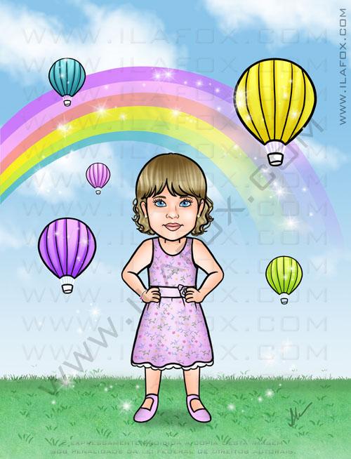 caricatura infantil, caricatura personalizada, fundo de arco íris, by ila fox